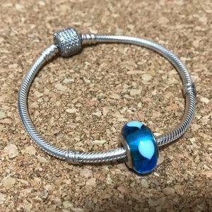 Retired Blue Heart Murano Charm from Pandora